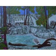 Pintura al óleo Original Cascadas de Kanchanaburi by Lola Os