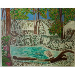 Original oil painting Kanchanaburi waterfalls