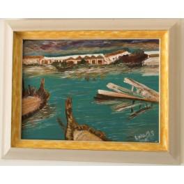 Pintura Acrílica sobre tabla 40x30 cm. Río Viejo, Barbate. By Lola Os.