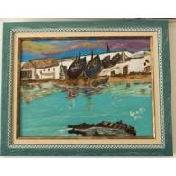 Peinture originale. Vieille rivière