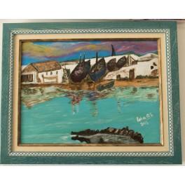 Pintura Acrílica sobre tabla 40x30 cm. Río Viejo. Barbate. By Lola Os.