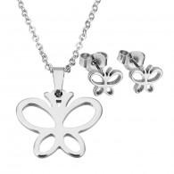 Conjunto Collar y Pendientes Mujer en Acero Inoxidable Mariposa