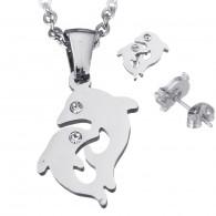 conjunto collar y pendientes en acero inoxidable Delfín LMH9