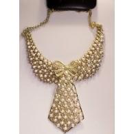 Collar Gargantilla Mujer Corbata Perlas