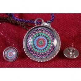 Conjunto Colgante y pendientes Mandala Flor de Agua
