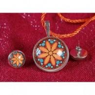 Conjunto Colgante y pendientes Mandala Flor Naranja