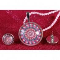 Colgante y pendientes Mandala Estrella Rosa