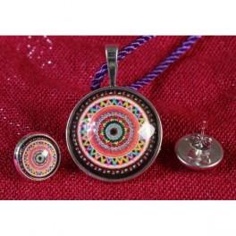 Colgante y pendientes Mandala Rainbow
