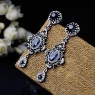 Ladies Earrings Crystal Blue