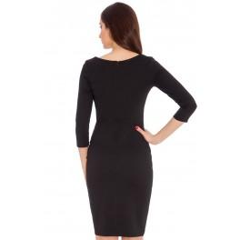 Woman Dress Midi Peplum Black