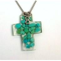 Collana con croce turchese