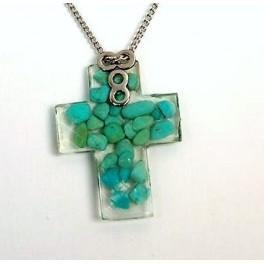 collar cruz turquesa