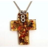 Cross Necklace Unakite