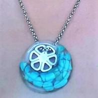 Collier Turquoise Fleur en acier