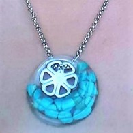 Necklace Turquoise Steel flower