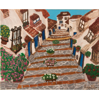 Original paint. A street in Vejer
