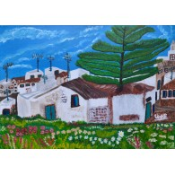 Peinture originale.La rue où je suis né