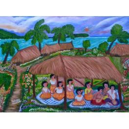 Original painting Islanders musicians