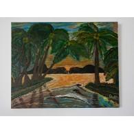 Pintura Original Atardecer en Samoa