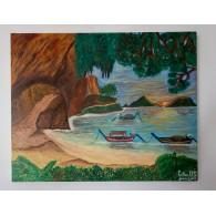 Peinture originale. Le lever du soleil à Krabi.