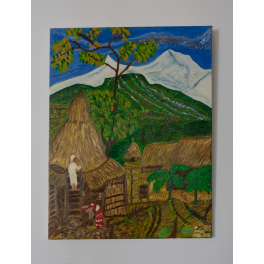 Peinture originale. Vallèe a Pokhara