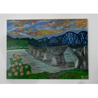 Peinture originale. Le pont sur la riviere Kwai