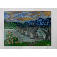 Pintura Original Puente sobre el Río Kuwai
