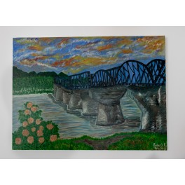 Peinture originale. coucher de soleil aux Samoa