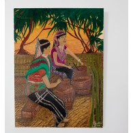 Peinture originale. Gardien des rizières en terrasses