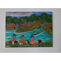 Peinture originale. Scène des îles Fidji.