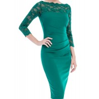 Emerald dress with lace