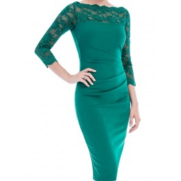 Fitted midi dress with scalloped lace neckline