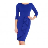 Woman Dress Midi Peplum Blue