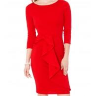 Woman Dress Midi Peplum Red
