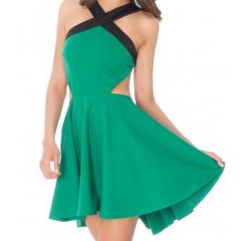 women dress green skater