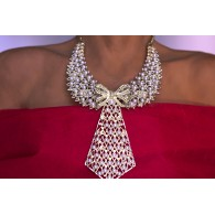Women's Choker Necklace Pearls Tie