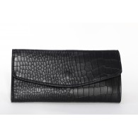 Ladies wallet engraved stone black