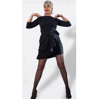 Vestito Donna Midi Peplum Black