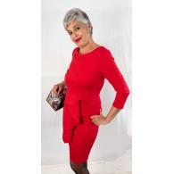 Vestito Donna Midi Peplum Red